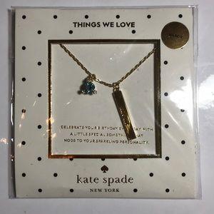 Kate Spade March Birthday Aquamarine Necklace NWT